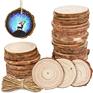"30Pcs 2.4""-2.8"" Natural Wooden Slices,Colovis Unfinished Wood Circles with Holes Tree Bark Round Log Discs DIY Crafts Hanging Ornaments (30 Pcs, Natural Wood)"
