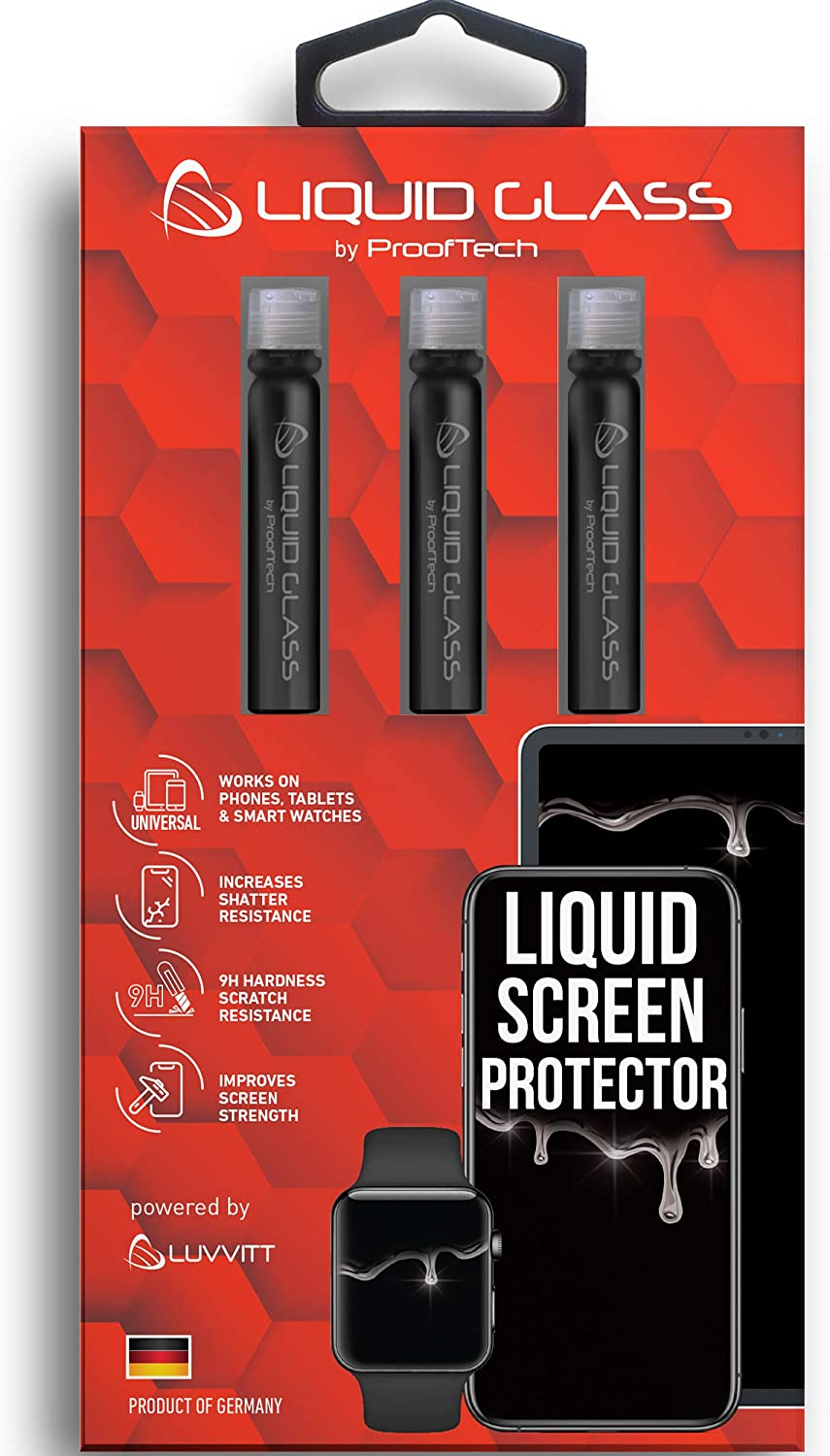 Liquid Glass Screen Protector for Up to 12 Devices   Universal for All Smartphones Tablets Smart Watches Apple Samsung LG iPhone iPad Galaxy S20 Ultra and More