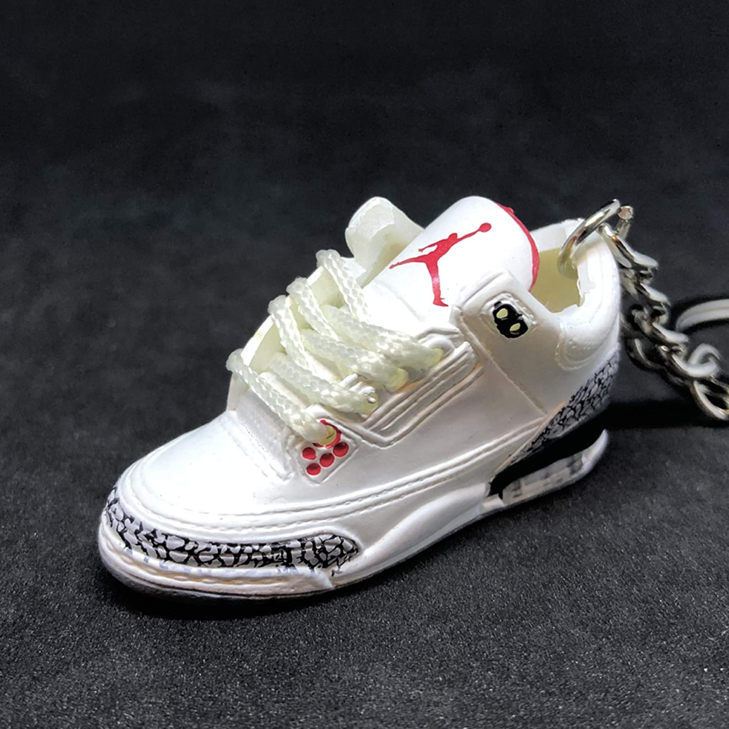 new styles a2b55 4e1f6 Air jordan III 3 Retro White Cement 88 OG Sneakers Shoes 3D Keychain