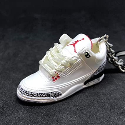 new styles cce3b 807b9 Air jordan III 3 Retro White Cement 88 OG Sneakers Shoes 3D Keychain
