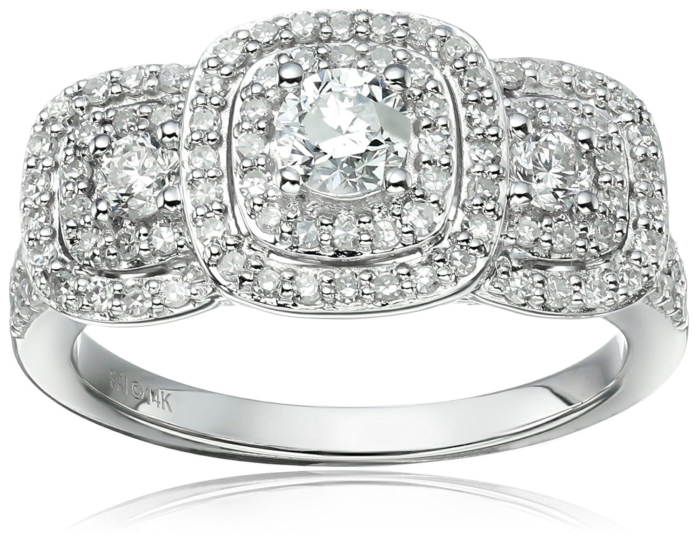 14k White Gold Diamond 3-Stone Double Frame Engagement Ring (1cttw, H-I Color, I1-I2 Clarity), Size 7