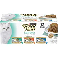 Purina Fancy Feast Classic Seafood Pate Collection Wet Cat Food Variety Pack - (2 Packs of 12) 3 oz. Cans