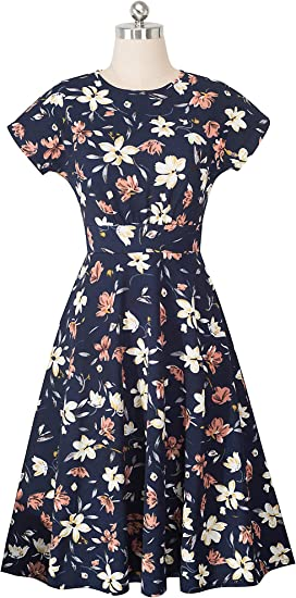 Women's Short Sleeve Floral Casual Aline Midi Dress