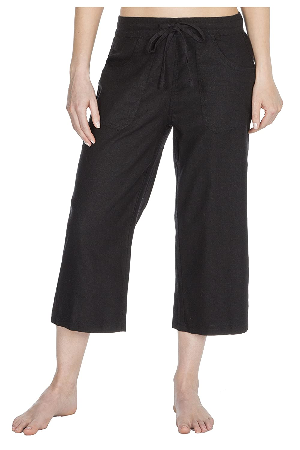 758d3c74cc0447 Causeway Bay Ladies Linen Blend Summer Cropped Trousers/Holiday 3/4 Length  Crops: Amazon.co.uk: Clothing