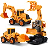CHUCHIK Set of 3 Friction Power Transforming Construction Toys Vehicles Truck for Toddlers Age 2-6