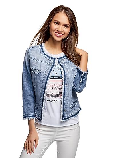oodji Ultra Donna Giacca in Jeans con Bottoni Automatici  Amazon.it   Abbigliamento 8d6c25ff869