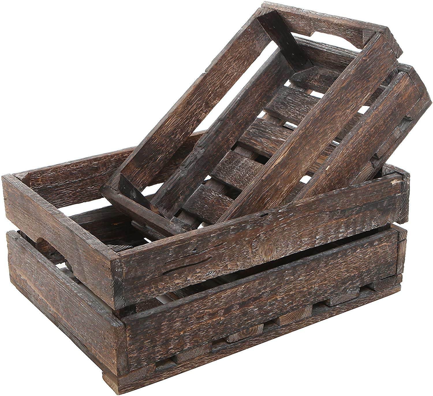MyGift Distressed Gray Wood Nesting Boxes Set of 2 Storage Crates w//Handles