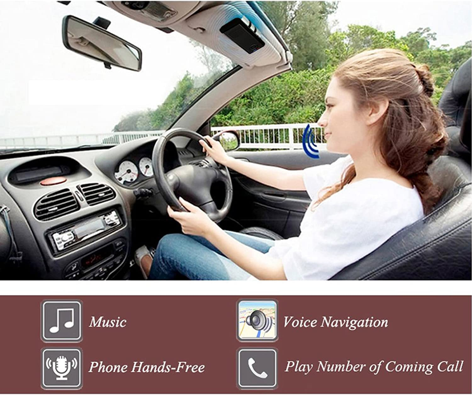 Car Speakerphone TEASTAR Bluetooth in-Car Speakerphone Handsfree with Mic Multipoint Bluetooth Wireless Sun Visor Car Kit with Car Charger Clip for Apple iPhone iPad Samsung HTC LG