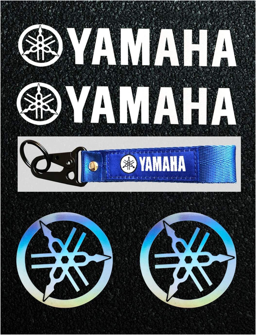LLAP Motorcycle Decal Stickers& Keychain for Yamaha Reflective Carbon Fiber Decals Vinyl Decal Weather Proof Sticker(5packs)
