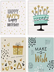 Happy Birthday Cards, 100-Pack, 4 x 6 inch, 4 Cover Designs, Blank Inside, by Better Office Products, with Envelopes, Elegant Gold Collection, 100 Pack