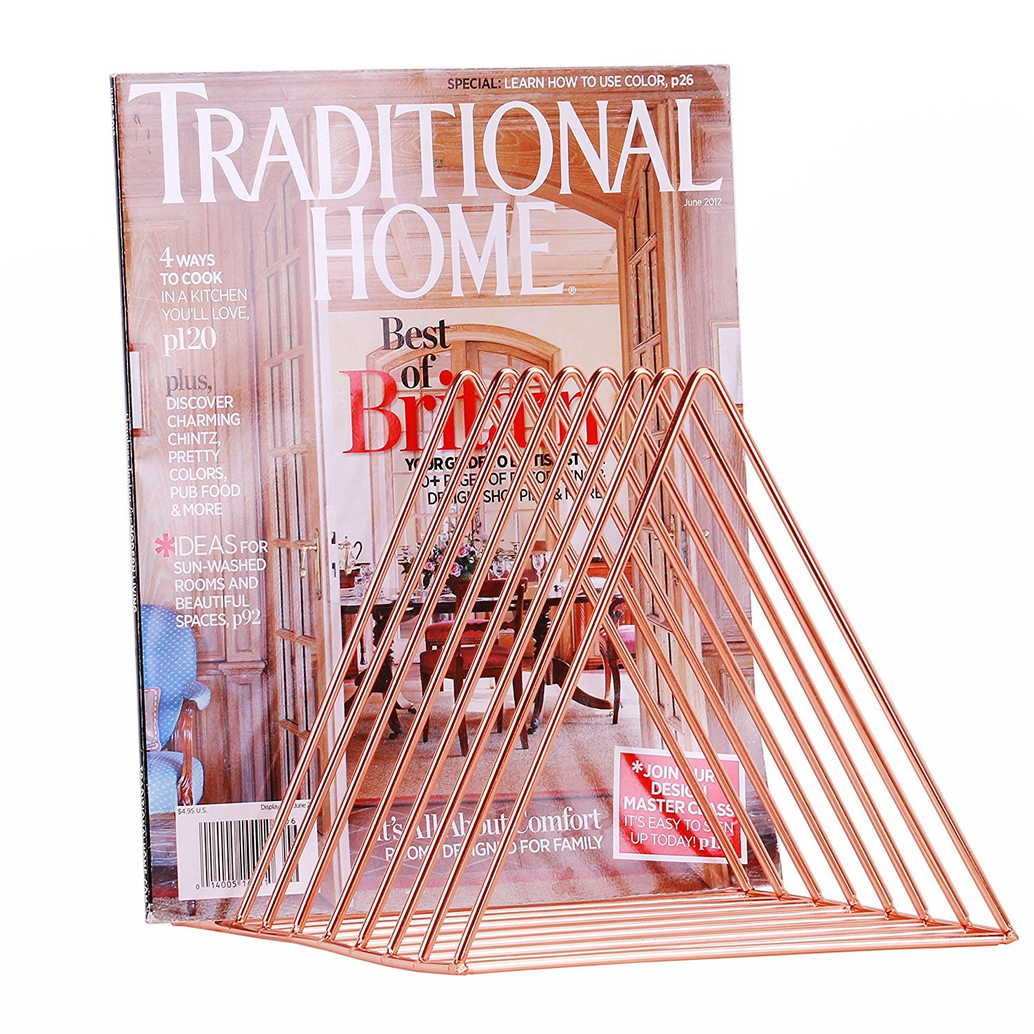 """West Beauty Copper Newspaper Magazine Holder Document File Stand Journals Magazine Rack Triangle Shape/ 12.2""""L X 7""""W X 6.9""""H/Rose Gold"""