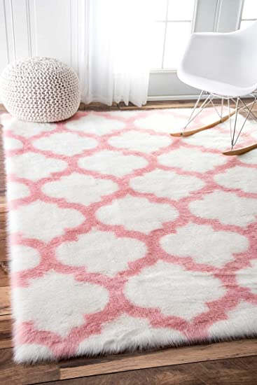 NuLOOM Faux Sheepskin Solid Soft And Plush Cloud Trellis Kids Shag Area Rugs 7