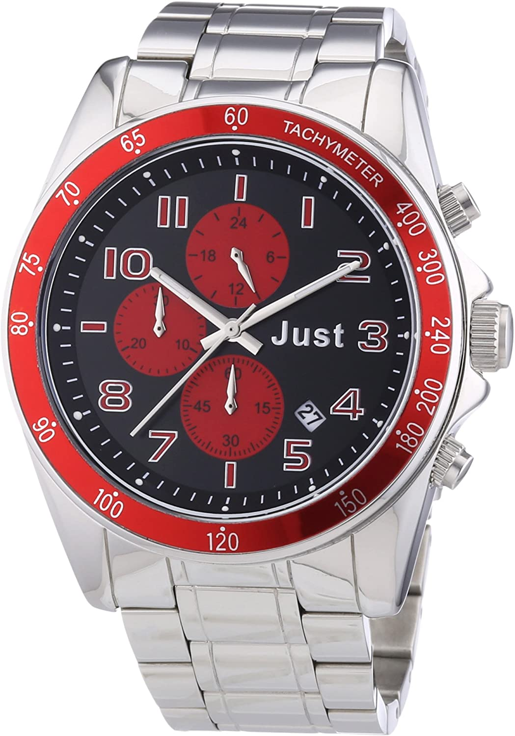 Just Watches 48-S1230-RD - Reloj analógico de cuarzo unisex, correa de acero inoxidable color plateado