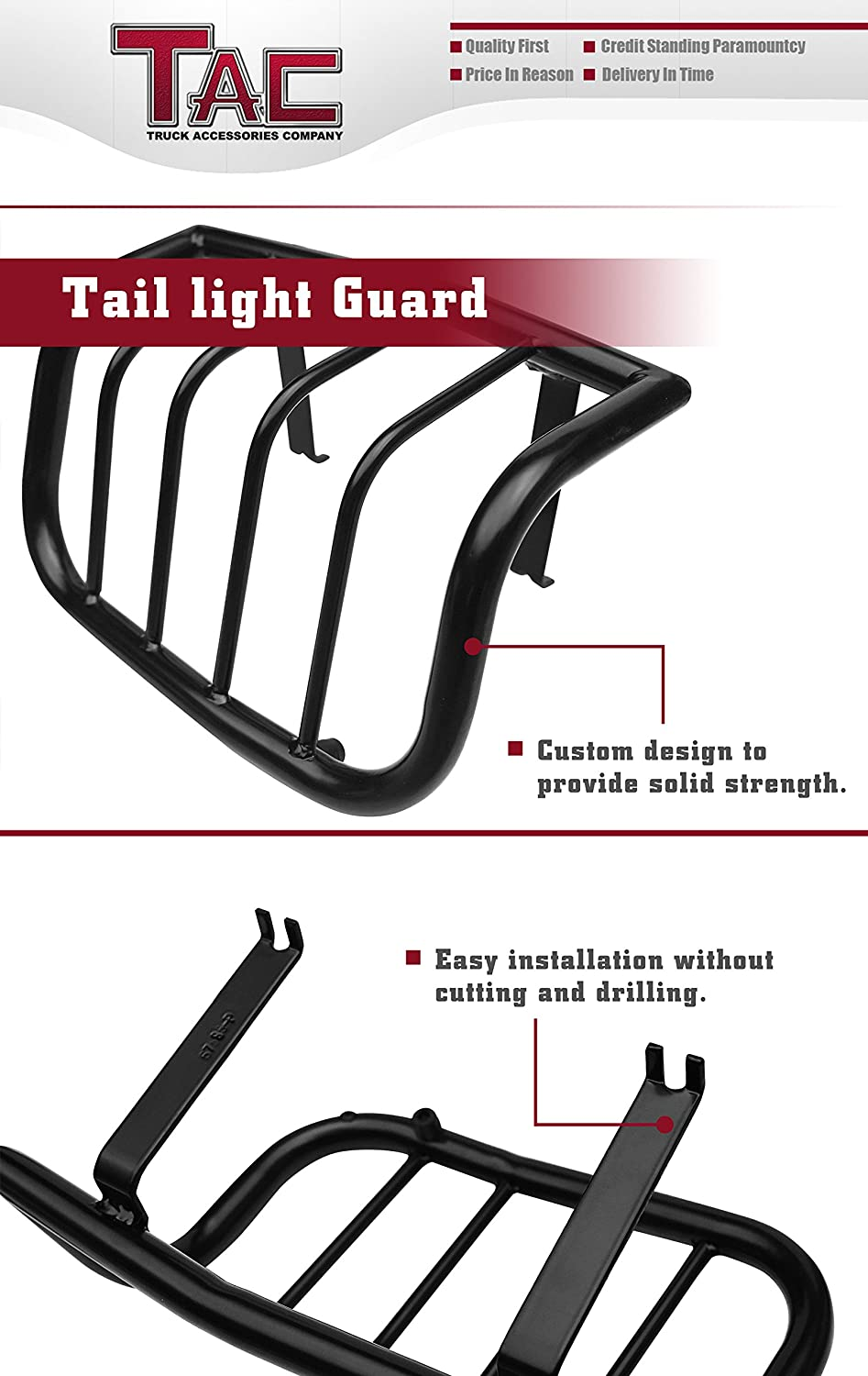 1 Pair TAC Rear Tail Light Guards Cover Protector Fit 1996-2002 Toyota 4Runner TLG BLACK Taillight