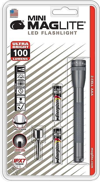 Mag Lite Led Mini Aaa Taschenlampe Bis Zu 84 Lumen 12 5 Cm Inkl 2 Micro Batterien Und Taschenclip Titan Grau Sp32096 Beleuchtung