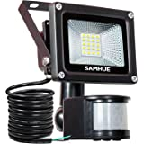 10W Security Light With Motion Sensor Lights Outdoor Flood Lights SAMHUE High Output 1000lumen 60W Halogen Lights Equivalent Replacement Daylight White Waterproof Security Lights PIR Floodlight