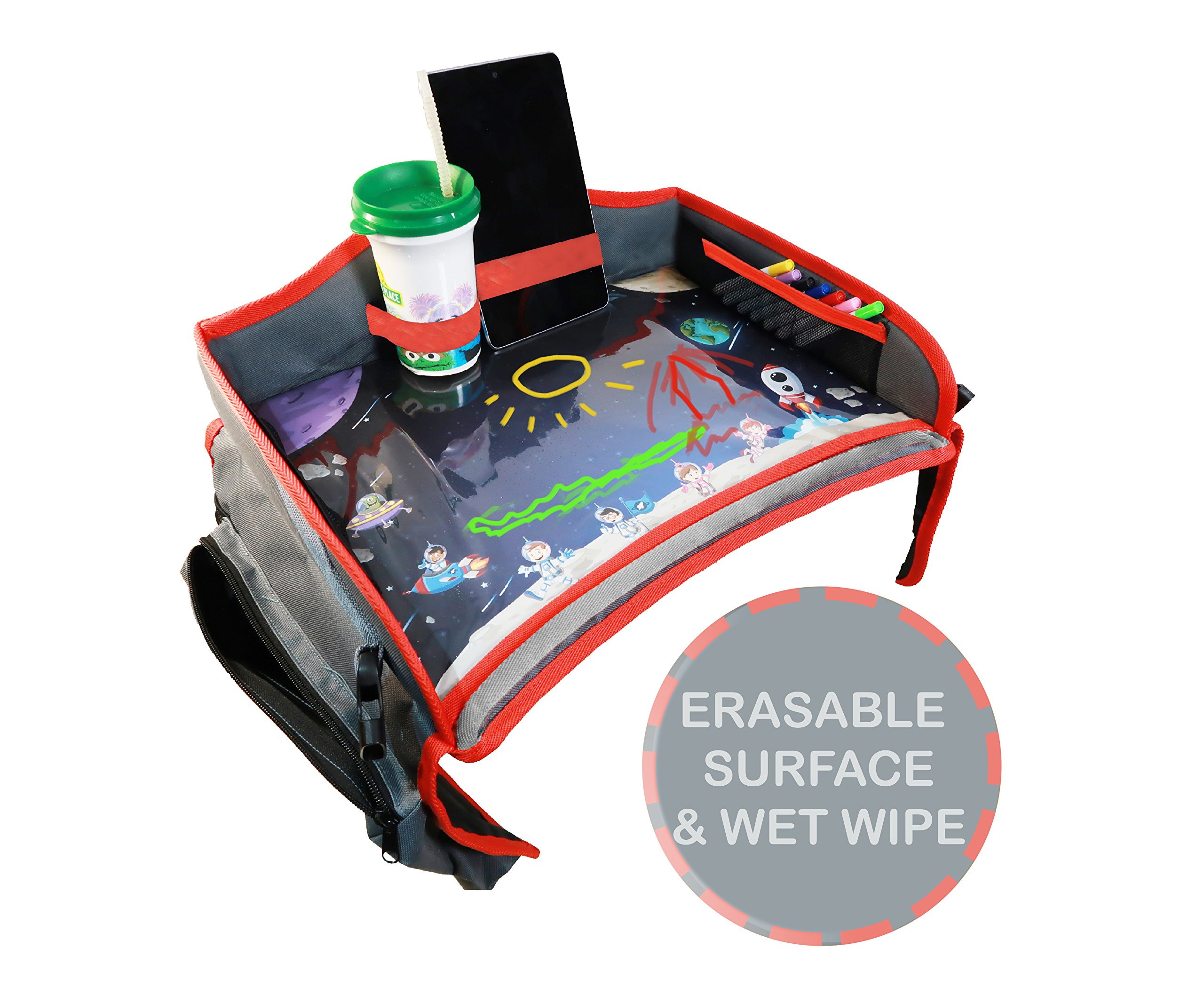 Toddler Car Seat Travel Tray. Kids Travel Tray with Erasable Surface, Side Pockets and Wet Wipe for Any Car Seat, Stroller, Airplane and High Chair by Little Explorer