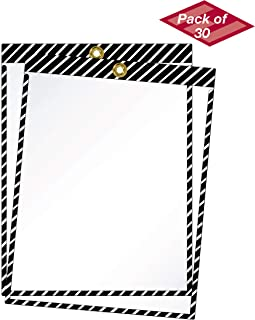 product image for EnvyPak Striped Job Ticket Holders (Black and White Stripes) - Pack of 30 - Top-Loading with Brass Eyelet. This Color Combination is commonly Used to Designate Housekeeping and Aisle ID.