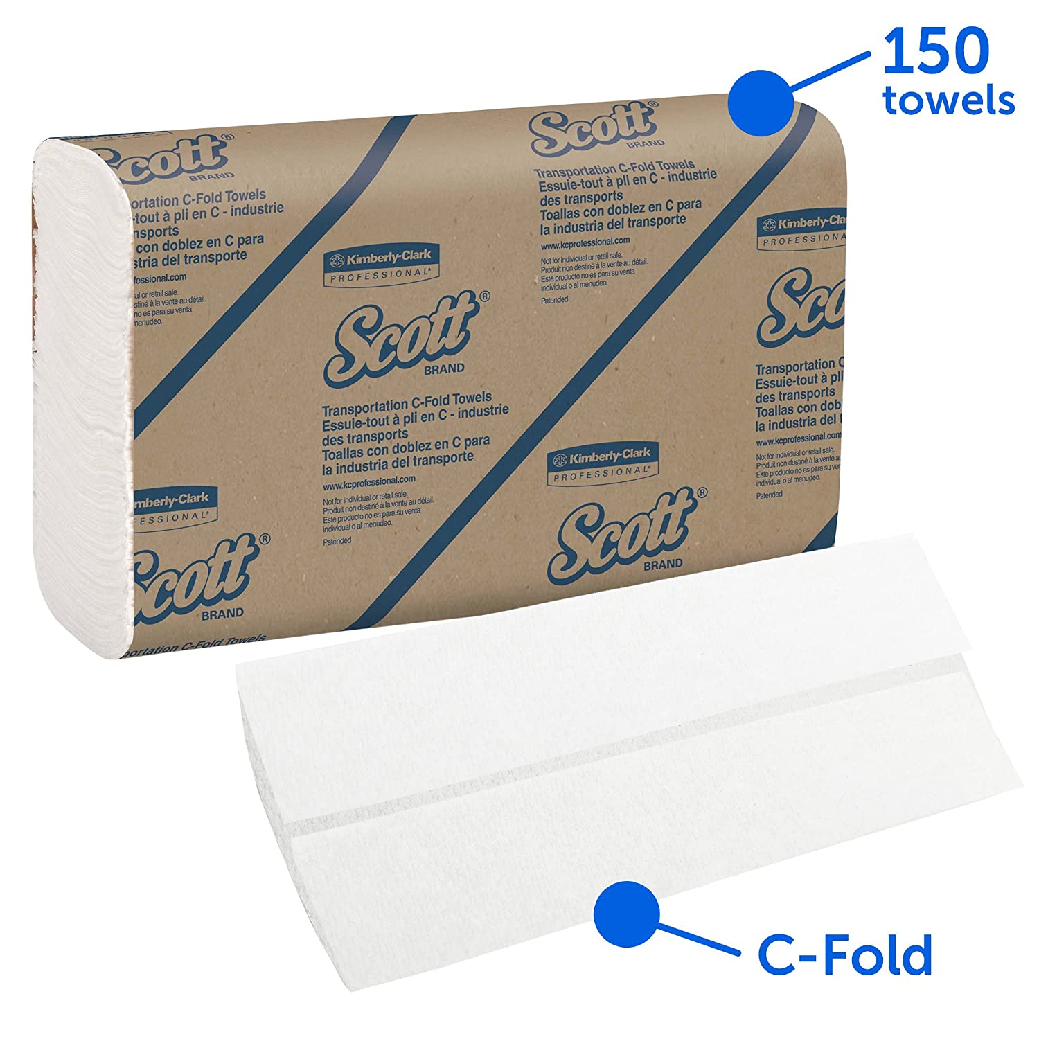 """200 Sheets // Pack 2,400 Towels 12 Pack // Case Scott Essential C fold Paper Towels White Low Wet Strength 13.15/"""" x 10.125/"""" 06041"""