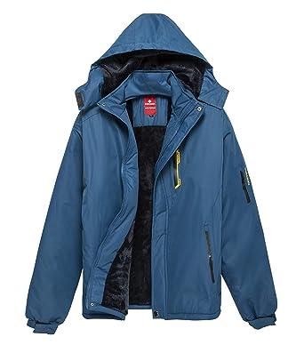 KORAMAN Men s Mountain Water-Resistant Winter Fleece Snow Ski Jacket Coat  with Detachable Hood Blue d317594af