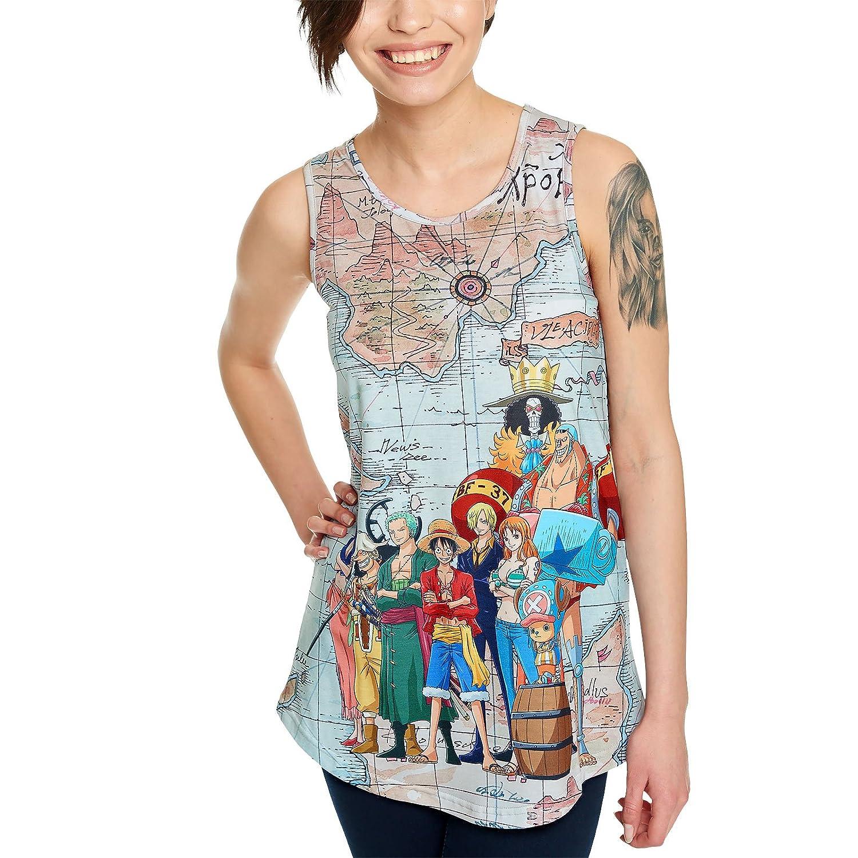One Piece Canotta da Donna Canotta Blu Orientale con Visiera Ampia Aderente