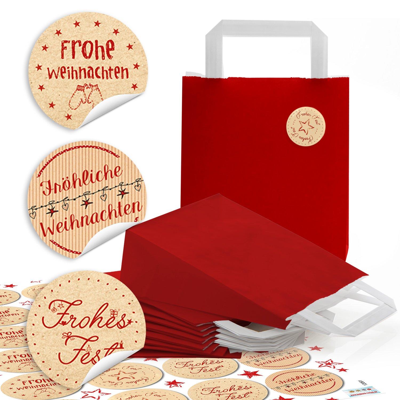 SET 10 kleine schwarz wei/ß Geschenkt/üten HIRSCH Henkel Papiertaschen Papiert/üten 17 rot gr/ün FROHE WEIHNACHTEN Etiketten Geschenkaufkleber Weihnachtsverpackung T/üte