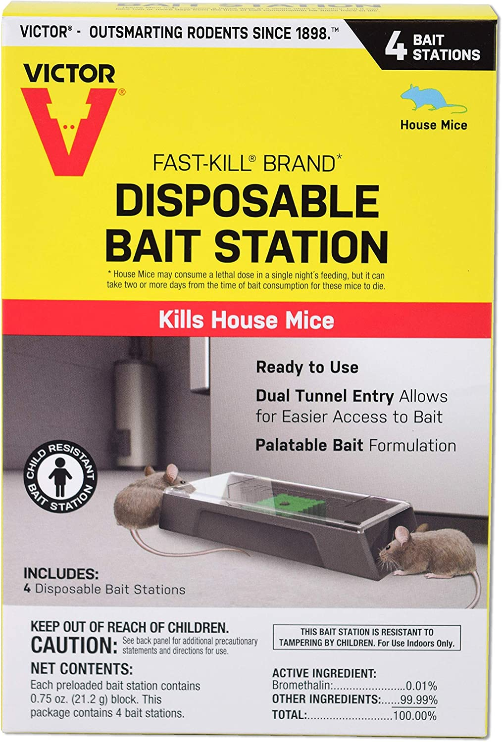 Victor Ready-to-Use Poison M915 Fast-Kill Brand Disposable Mouse Bait Station – 4-Pack