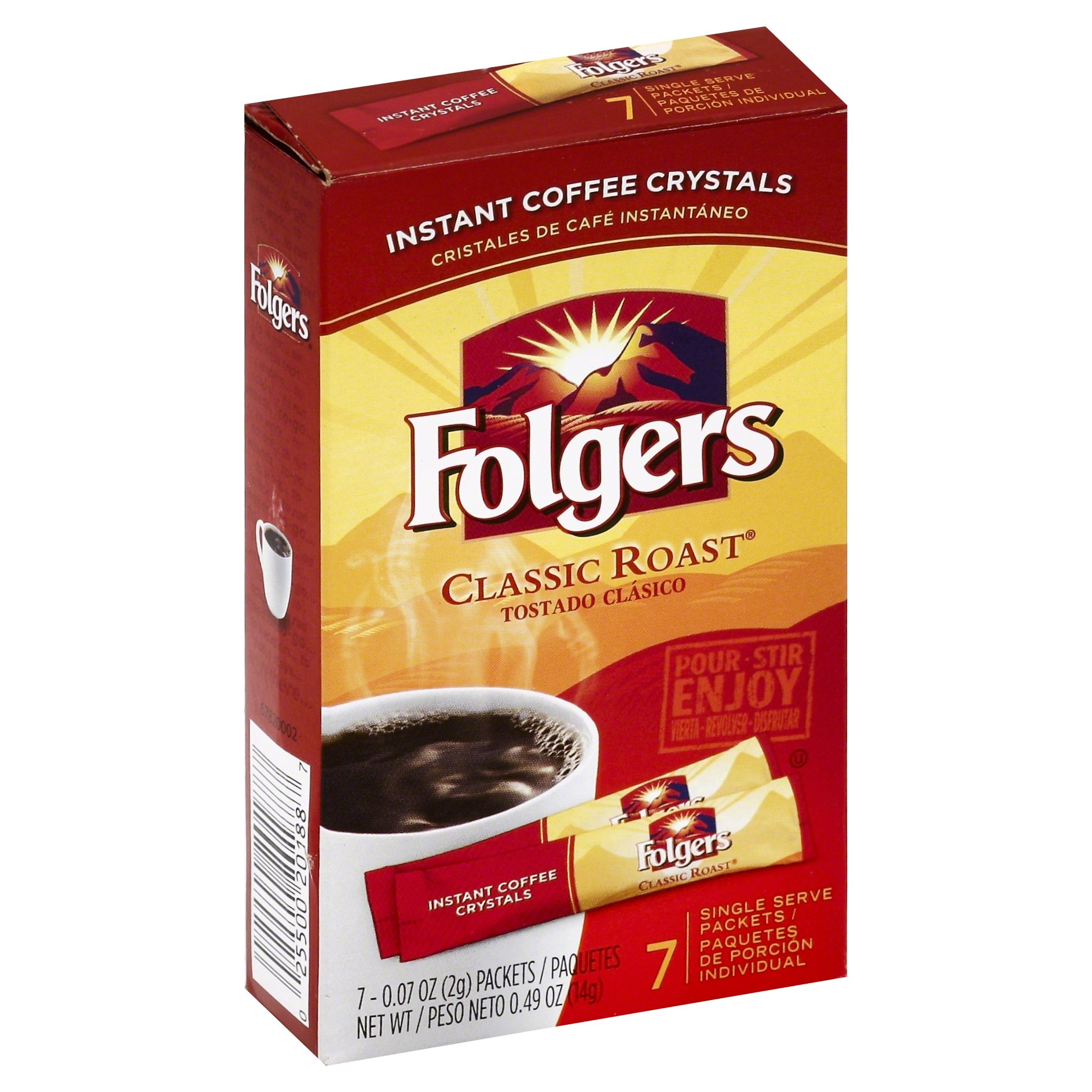 Folgers Classic Roast Instant Coffee, Single Serve Packets, 7 Count (Pack of 12)