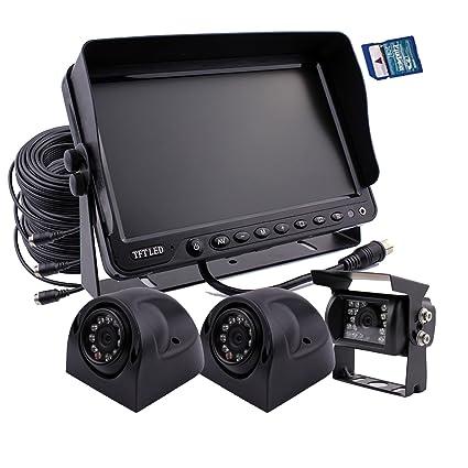 Zhiren - Sistema de cámara de seguridad para coche, monitor de 7 pulgadas, grabadora