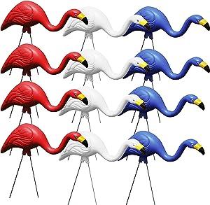 Bloem Bulk G3-12 Red White & Blue American Mingo Flamingo Yard Stakes (12-Pack), 12 Pack