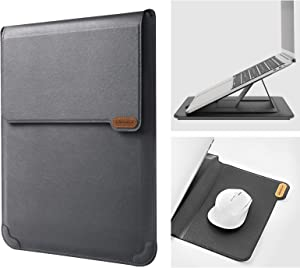 "Nillkin 15.6 inch Laptop Sleeve Case Laptop Stand Adjustable, Computer Shock Resistant Bag with Mouse Pad for MacBook Pro 16""/15"" 15.6"" Dell Lenovo HP Asus Acer Samsung Sony Chromebook Computer, Gray"