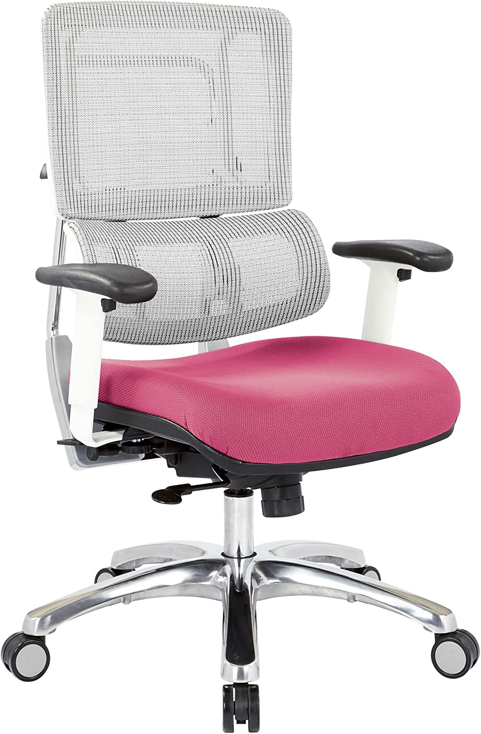 Office Star Breathable White Vertical Mesh Back and Padded Steel Mesh Seat Managers Chair with Adjustable Arms and Polished Aluminum Accents, Pink Seat