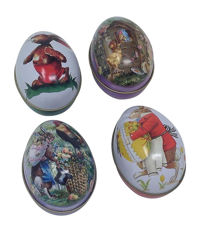Amazon.com: Estaño Huevos de Pascua, clásico conejo pollito ...