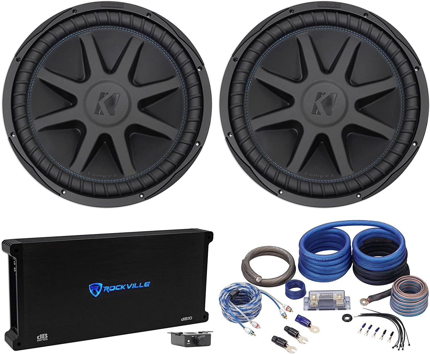 "(2) Kicker 44CVX152 Comp VX CVX 15"" 4000w Car Subwoofers+Mono Amplifier+Amp Kit"