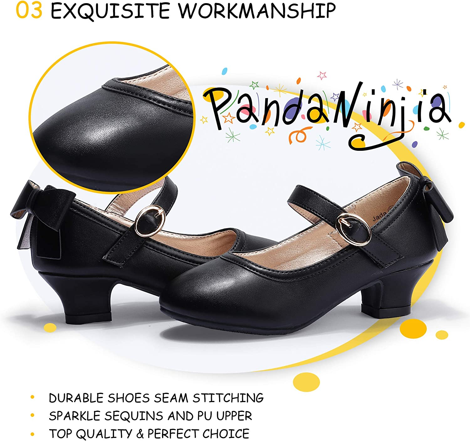 PANDANINJIA Girls Toddler//Little Kid Ruby Dress Mary Jane Pumps Bow Low Heels Party Wedding Princess Shoes