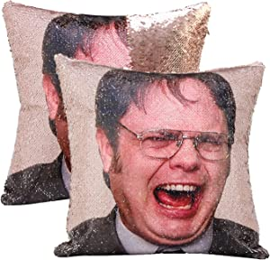 cygnus The Office Dwight Schrute Funny Gag Gifts Magic Reversible Sequin Pillow Cover Home Decorative Cushion Cover 16x16(Champagne,Type1)