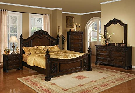 Soflex Giavanna Dark Cherry Finish Luxury Platform Bedroom Set 6 Pcs (King)