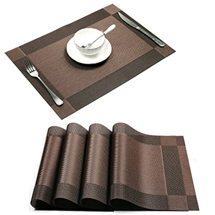 Charming Placemat,Uu0027Artlines Crossweave Woven Vinyl Non Slip Insulation Placemat  Washable Table Mats