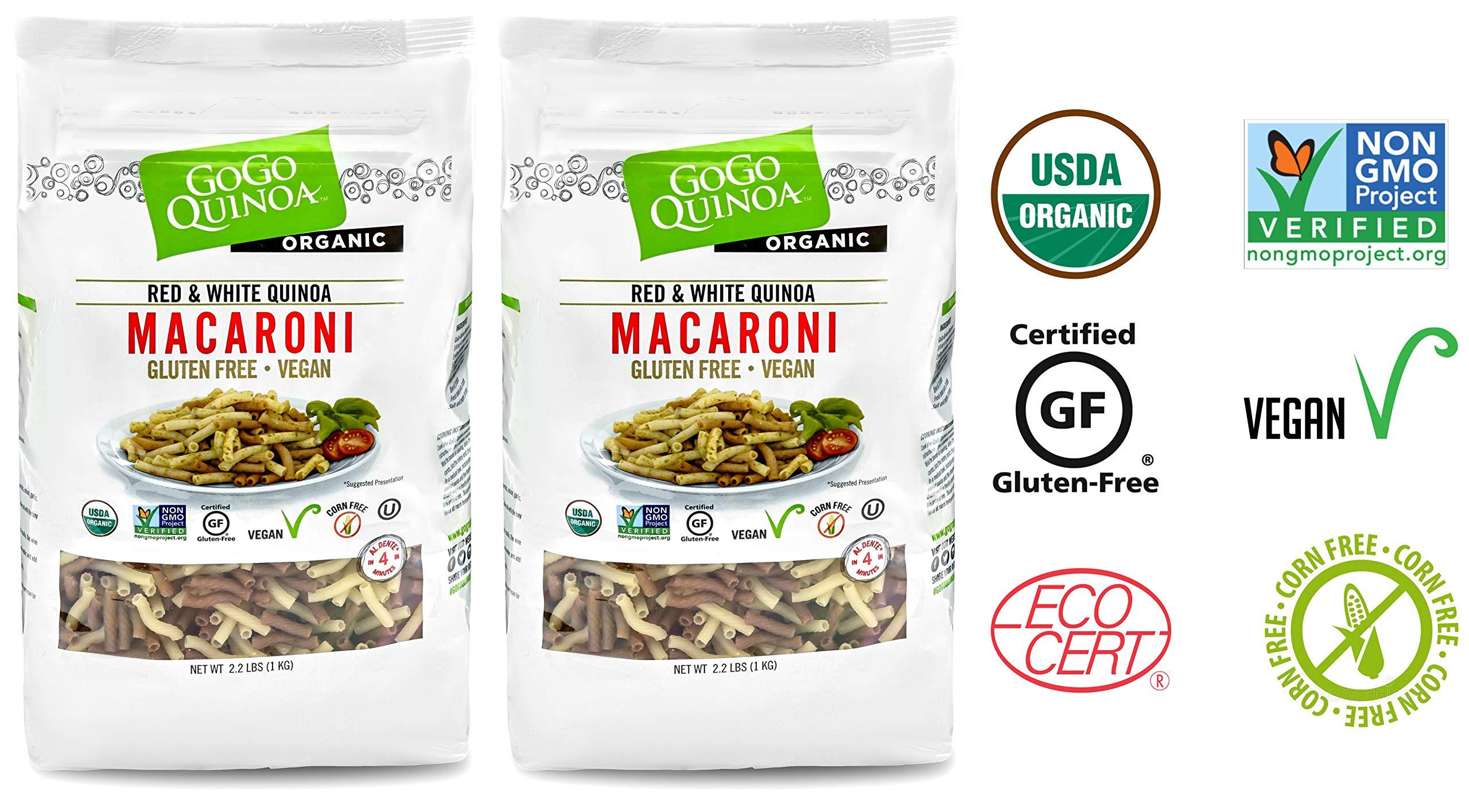 Gogo Quinoa Gluten Free Organic Red and White macaroni Organic, Gluten Free and Non-GMO Certified, Corn free and Vegan 4.4 Lbs by GoGo Quinoa