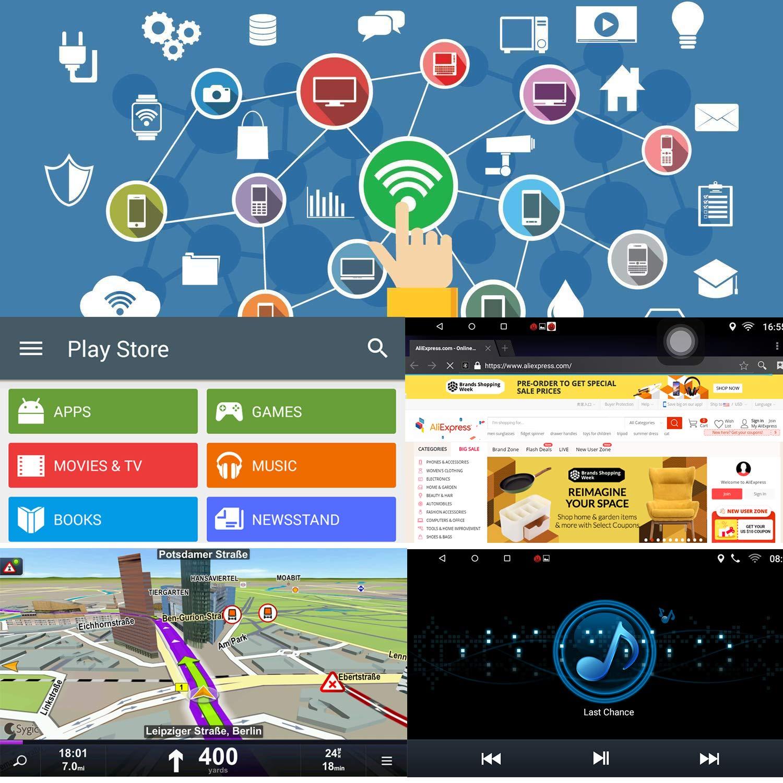 KKXXX S9 Plus pour VW Volkswagen Android 7.1 Autoradio St/ér/éo 9 Pouces Navigation GPS Auto Radio AM FM RDS CANBUS C/âble ISO 2 Go de RAM 32 Go ROM Lien Miroir