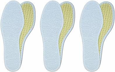 Lenzen 3 Pares de Plantillas de Rizo de Algodón I Usar sin Calcetínes I Suelas Lavables à Mano I Carbón Activo, Antiolor