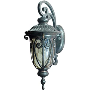 Y Decor EL591MOR Modern, Transitional, Traditional Hailee Exterior Outdoor Light Fixture Oil Rubbed Bronze Finish with Gold Stone Glass Medium, Oil Rubbed Bronze, Brown