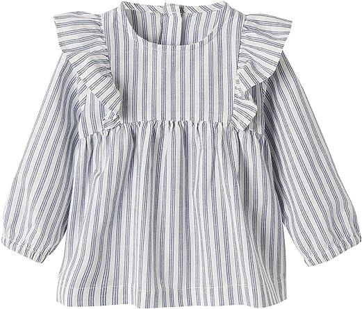 VERTBAUDET Blusa de algodón y Lino para bebé niña Azul Claro A ...