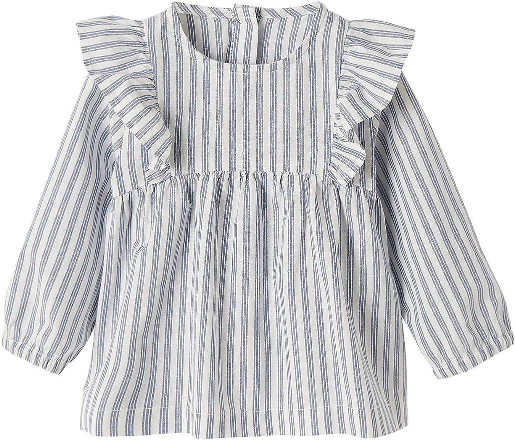 VERTBAUDET Blusa de algodón y Lino para bebé niña Azul Claro A Rayas 24M-86CM: Amazon.es: Ropa y accesorios