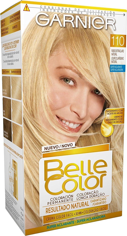Garnier Belle Color Coloración de aspecto natural y cobertura completa de canas con aceite de jojoba y germen de trigo - Tono: Rubio Extra Claro Natural 110