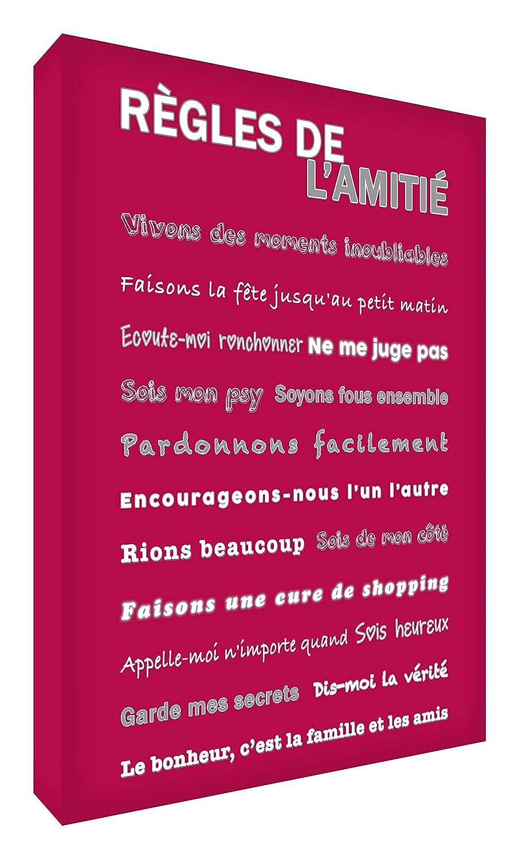 Feel Good Art Règles de l'Amitié Toile sur Cadre Mural de Style Moderne/Typographique Vert Menthe 40 x 30 cm
