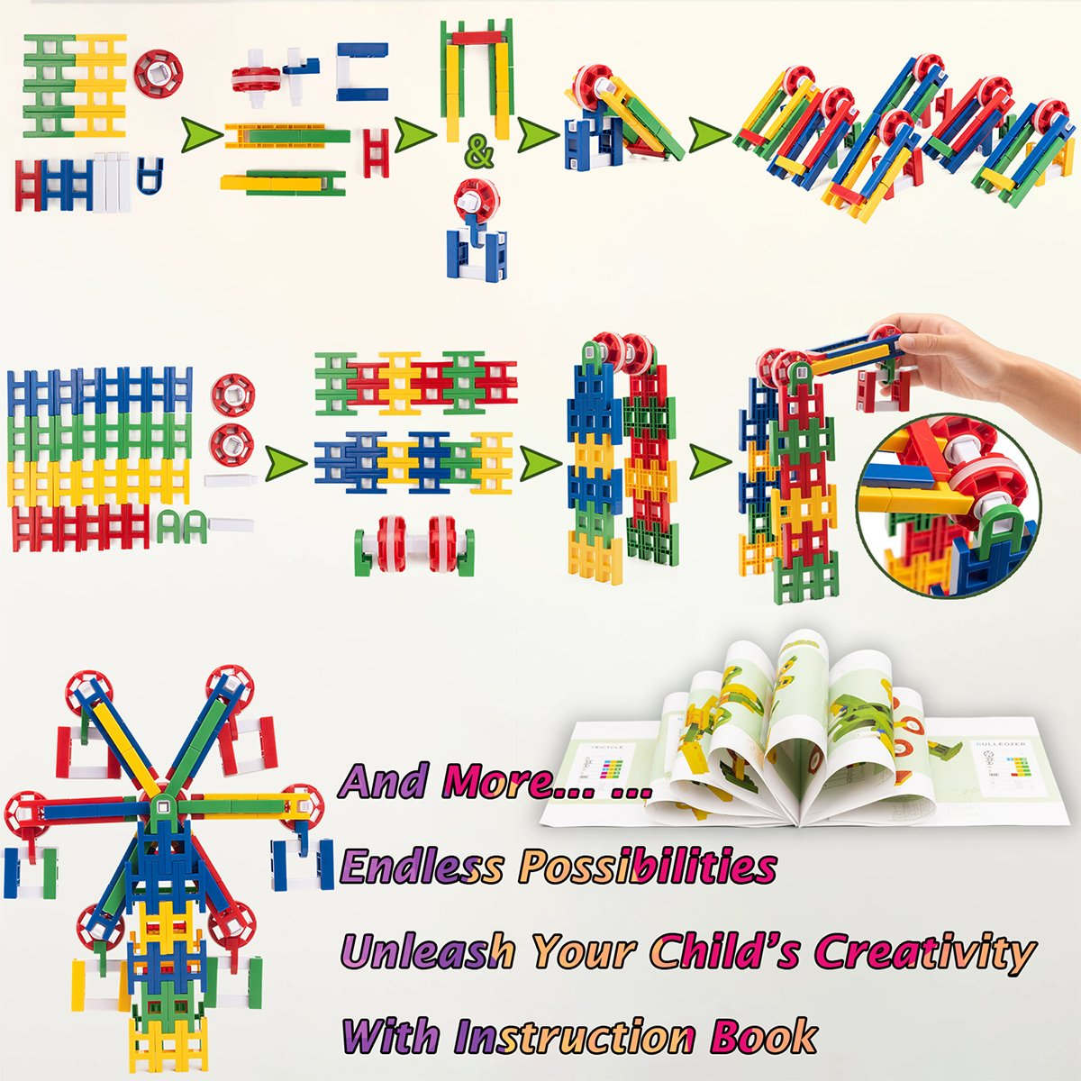 2953aff7c3e5 cossy STEM Learning Toy Engineering Construction Building Blocks 208 Pieces  Kids Educational Toy for Boys and Girls Ages 3 4 5 6 7 8 9 Year Old (208  Pcs)