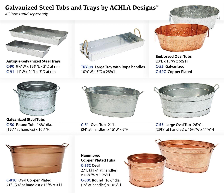 Amazon Com Achla Designs Large Oval Galvanized Steel Tub Ice Buckets Patio  Lawn Garden