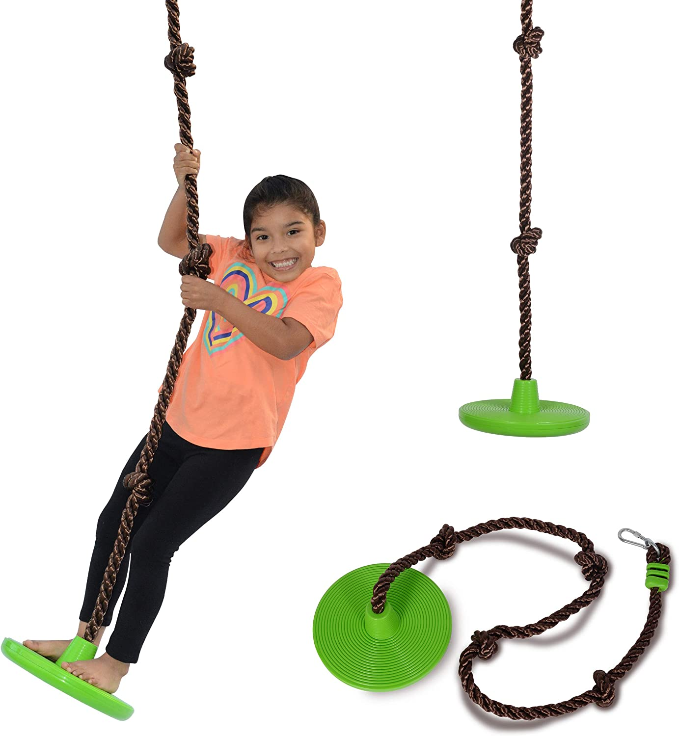 Swurfer Disco - 3-in-1 Multi-Purpose Sit, Stand, & Climb Disc Swing, Heavy Duty Climbing Rope Swing - 6 Foot Rope with Four Adjustable Knots, Holds 200lbs, Ages 4 and Up