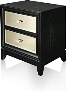 HOMES: Inside + Out Iohomes Tristan Modern Nightstand, Black & Gold, Black and Gold